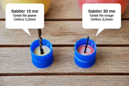 Sablier jaune : 10mn et sablier rouge : 30mn