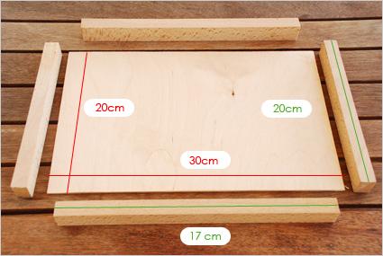 Commençons avec une première planchette de 20cmx30cm et des tasseaux de hêtre