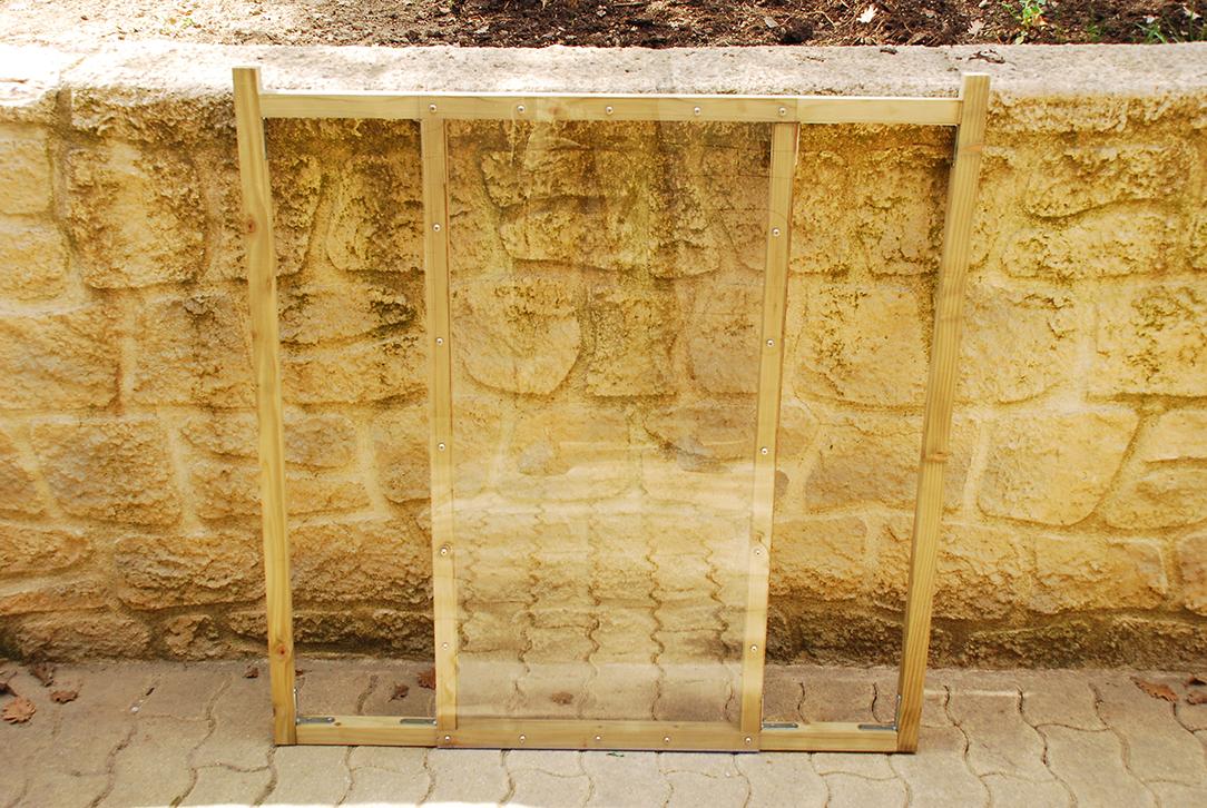 Composteur pédagogique - Façade avec plaque de plexiglas