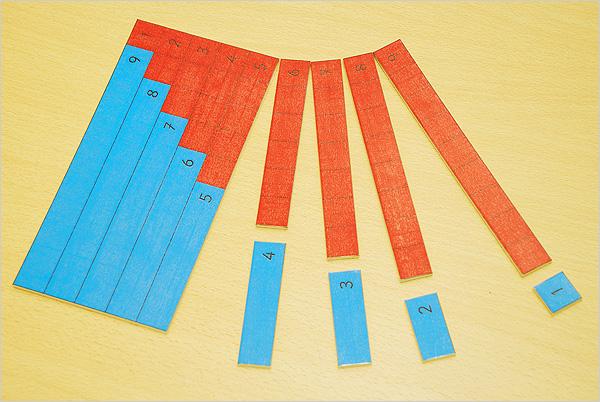Découpage des bandes rouges et bleues de l'addition