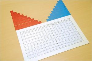 Tables à bandes pour l'addition de Montessori réalisées