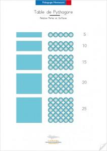 Relation des Perles et Surface sur la Table de Pythagore de Montessori