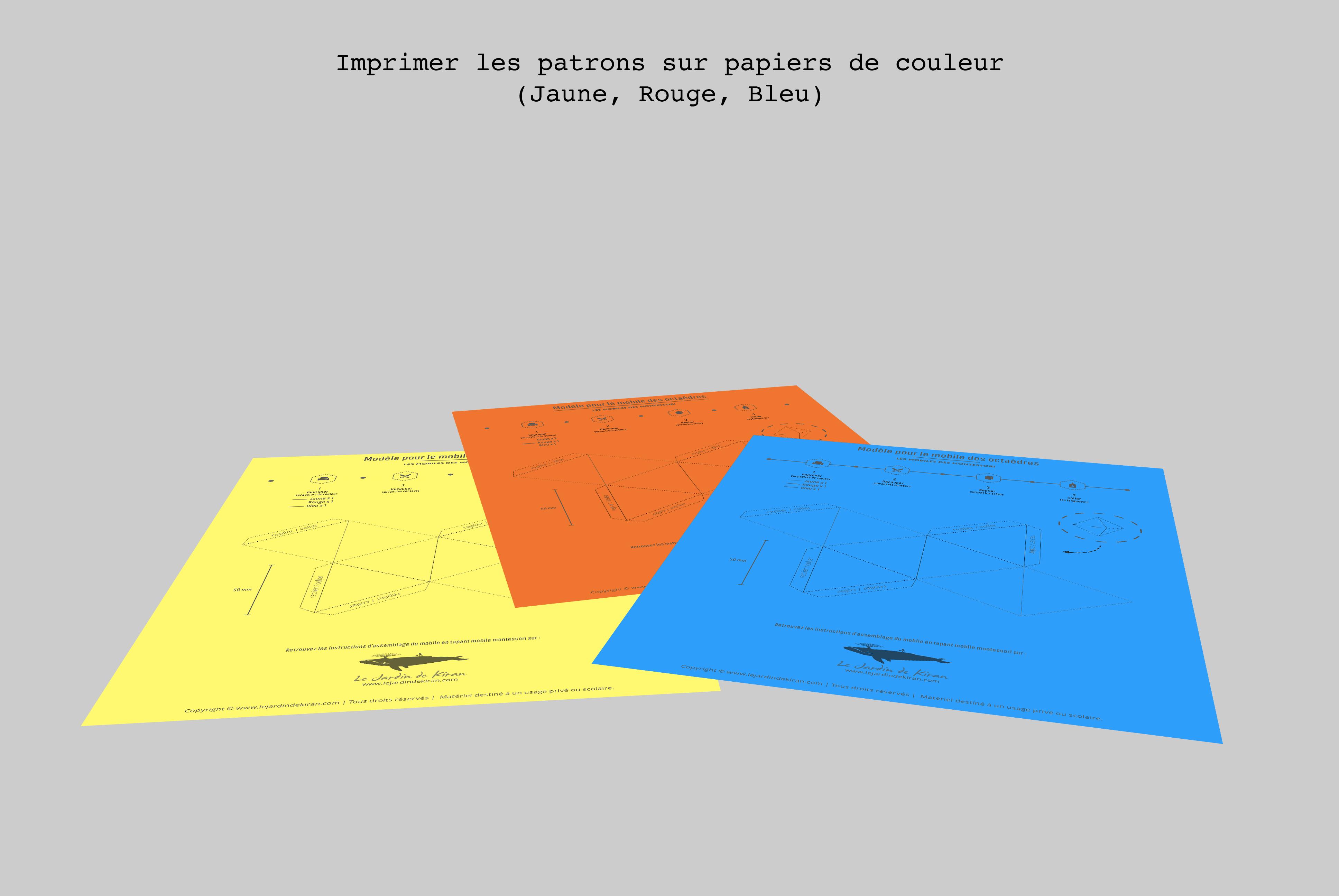 Patrons à imprimer pour le mobile des octaèdres
