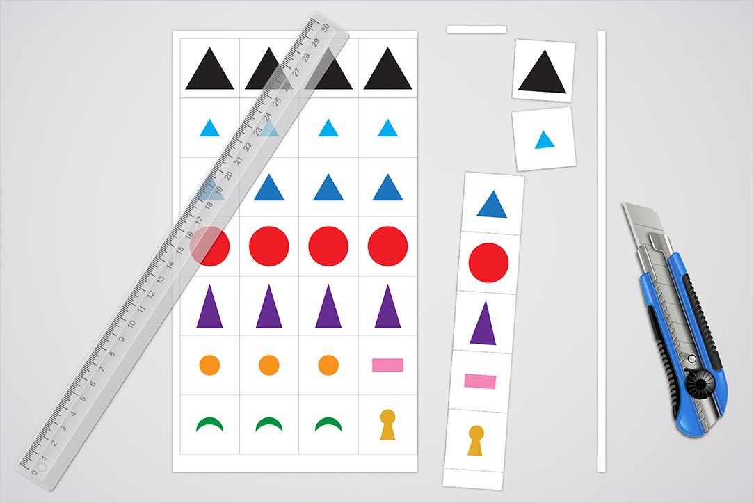 Découpe des Symboles grammaticaux de Montessori