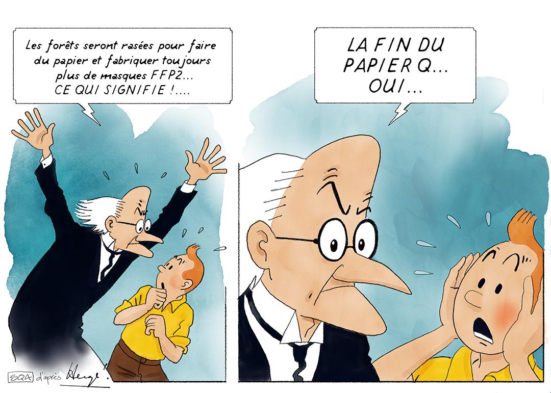 Détournements Tintin Covid 19